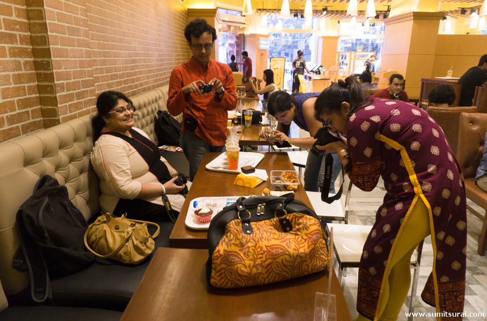 Blogger friends busy with food photography