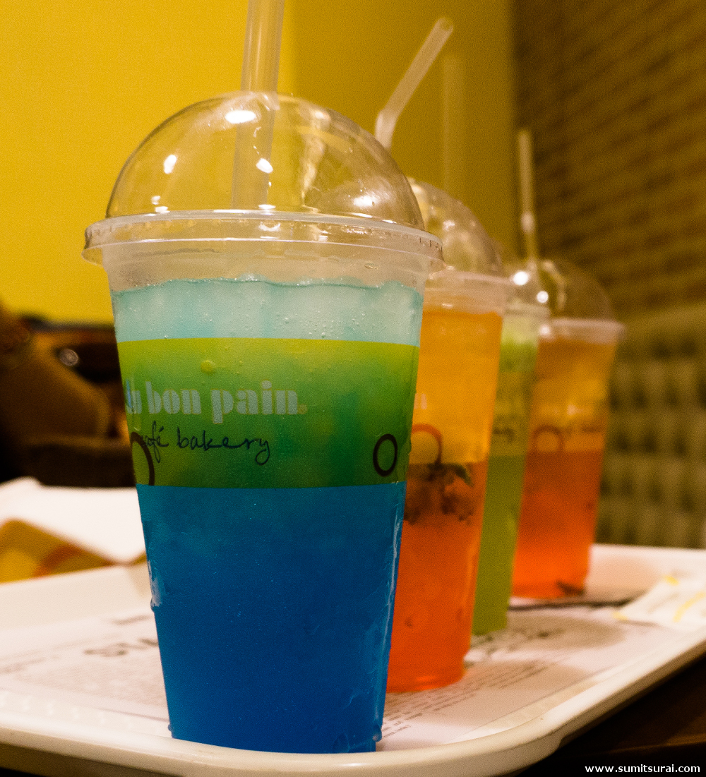 Refreshing and colourful drinks at Au Bon Pain