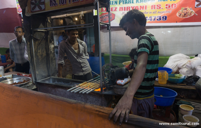 Pyare Kebabs being made at Bihari Food Corner
