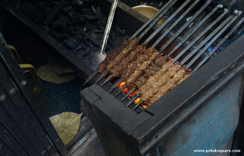 Kebabs being grilled