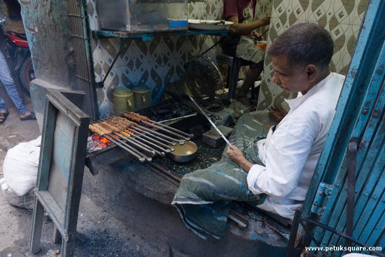 Md. Salauddin busy making kebabs