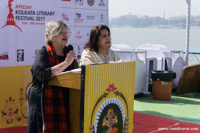 Ms. Maina Bhagat and Ms. Anjum Katyal addressing the media