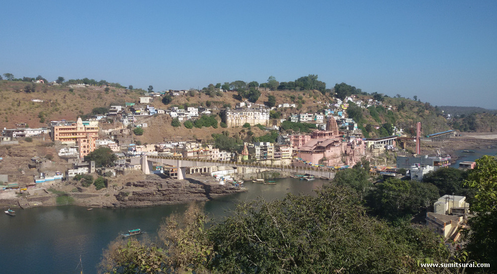 Awesome view of river Narmada and Omkareshwar temple from the dining hall of Narmada Resort