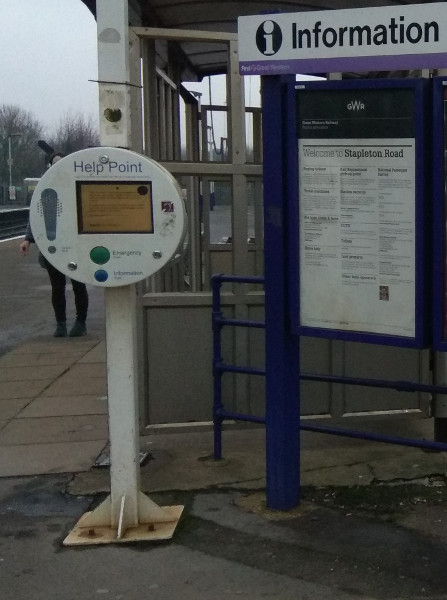 Help Point at Stapleton Road Station, Bristol